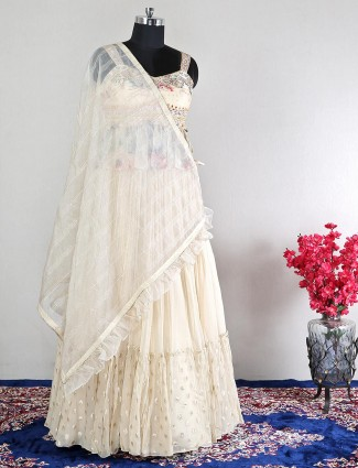 cream georgette lehenga choli for wedding