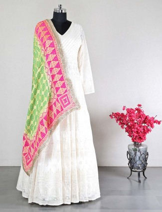Cream georgette party wear salwar kameez