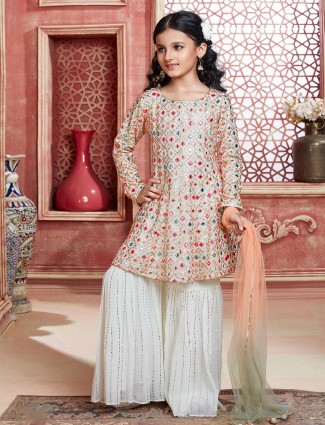 Cream georgette sharara suit for girls