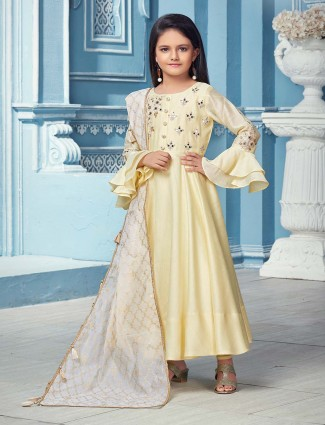 Cream hue cotton silk fabric anarkali salwar suit