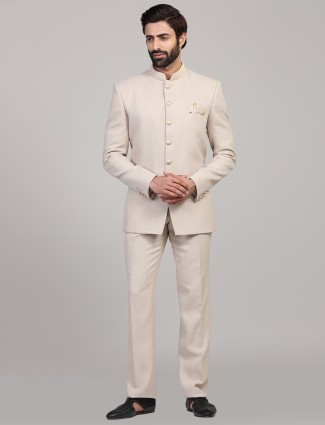 Cream hue party wear solid jodhpuri suit
