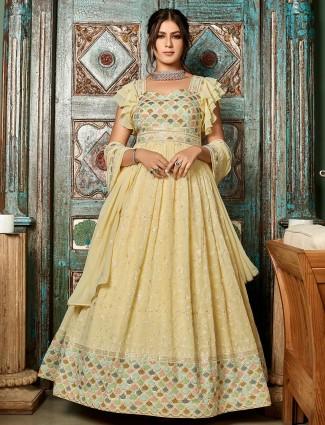 Cream hue pretty floor length gown in georgette