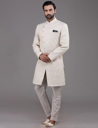 Cream indo western for wedding function