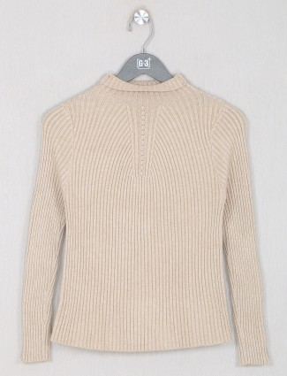 Cream knitted casual top