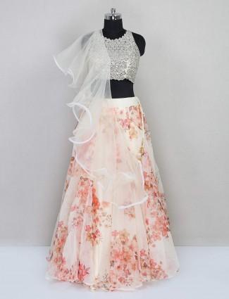 Cream organza tissue lehenga choli for wedding