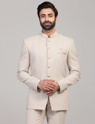 Cream party wear solid jodhpuri balzer