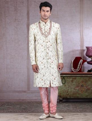 Cream raw silk fabric sherwani for wedding