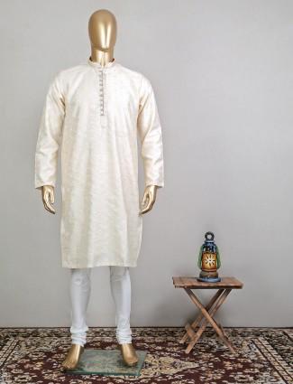 Cream raw silk festive special kurta for mens