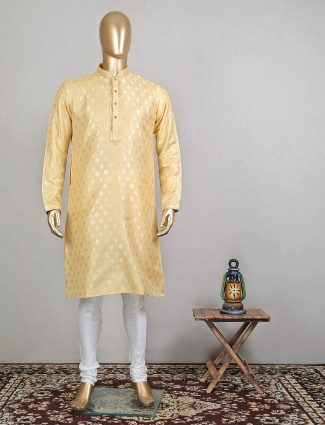 Cream raw silk festive wear kurta for mens