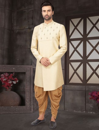 Cream raw silk mens wedding indo western
