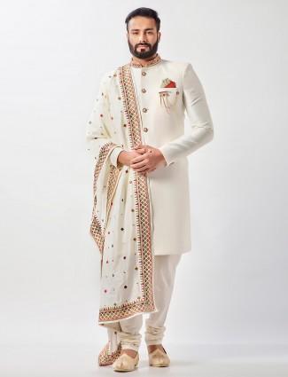 Cream raw silk party wear semi indo western