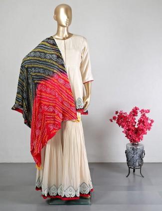 Cream raw silk sharara suit for women