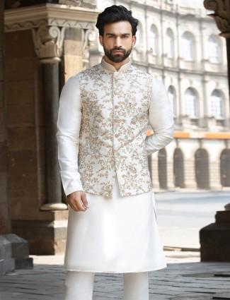 Cream raw silk waistcoat set for mens