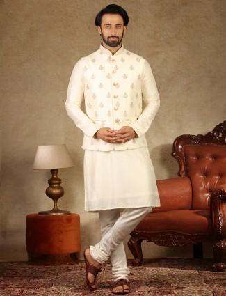 Cream raw silk waistcoat set special for festive days
