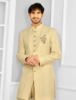 Cream shade wedding wear indowestern for male