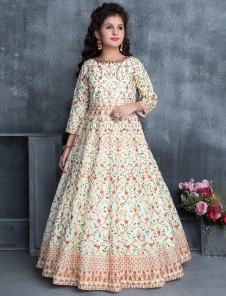 Cream silk designer wedding gown