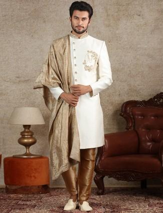 Cream silk indo western for wedding function