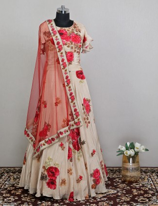 Cream silk latest wedding wear lehenga choli