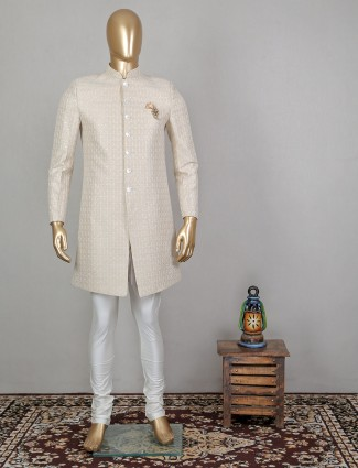 Cream silk men indo western for party function