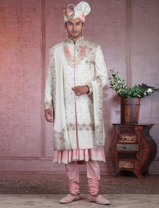 Cream silk wedding special sherwani
