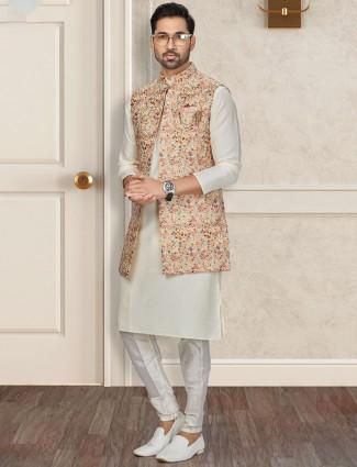 Cream thread woven silk waistcoat set