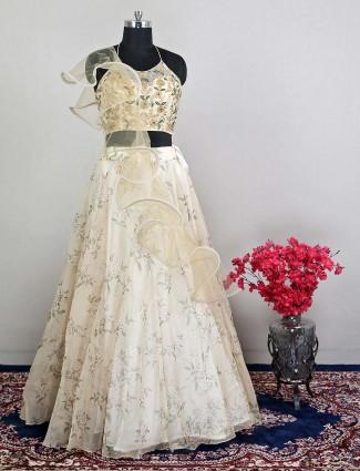 Cream wedding occassion net lehenga choli for womens