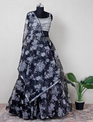 Tissue silk black wedding wear lehenga choli