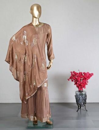 Crepe silk brown wedding special sharara suit