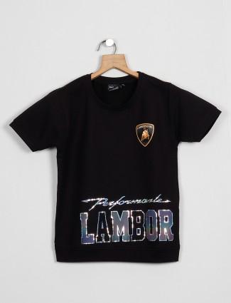 Danaboi presented black cotton casaul t-shirt