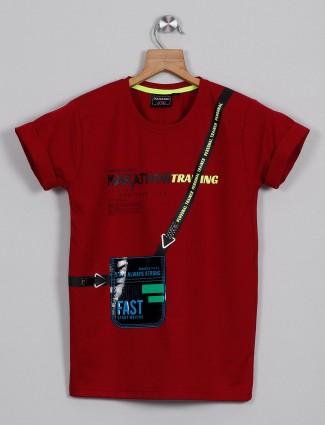 DanaBoi printed red cotton t-shirt