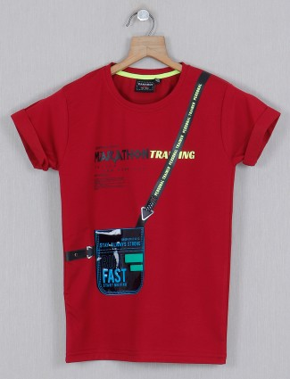 Danaboi red casual printed t-shirt
