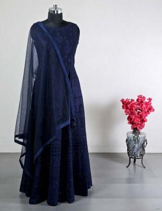 Dark blue anarkali suit for wedding