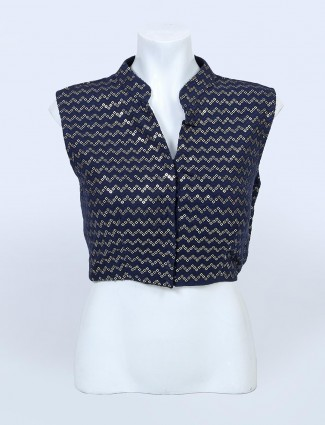 Dark blue readymade blouse for women