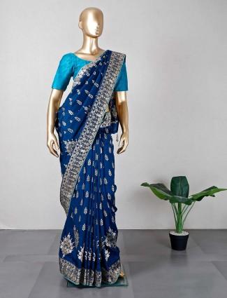 Dark blue silk saree for women