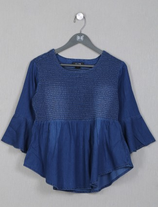 Dark blue tint casual style top for women