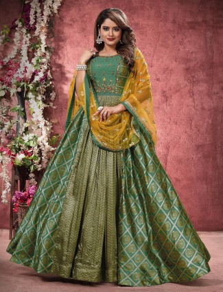 Dark green hue bandhej silk floor length anarkali salwar suit