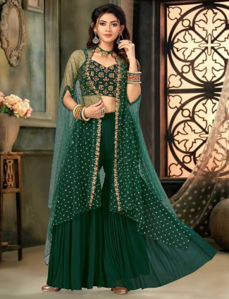 Dark green hue georgette wedding punjabi style sharara suit