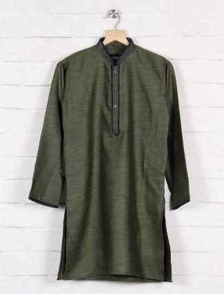 Dark green party function kurta suit