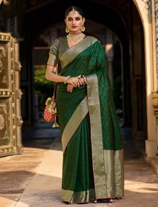 Dark green printed wedding functions silk saree for women