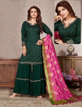 Dark green raw silk wedding occasions punjabi style sharara suit