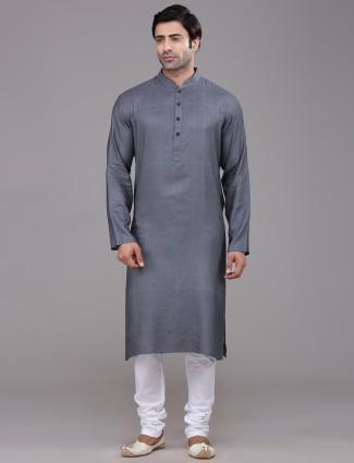 Dark grey festive kurta suit in silk