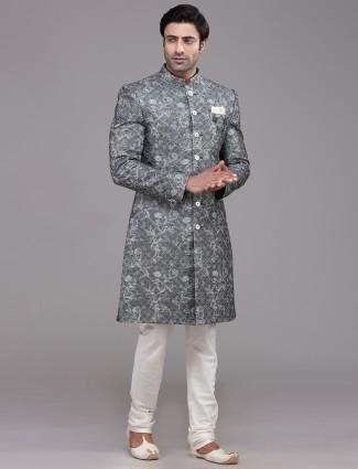 Dark grey georgette indo western with churidar
