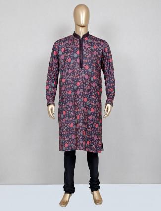 dark grey printed silk mens kurta suit