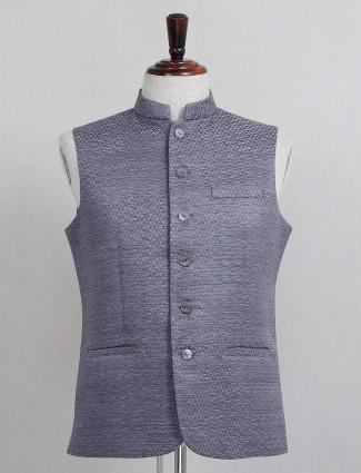 Dark grey textured cotton silk mens waistcoat