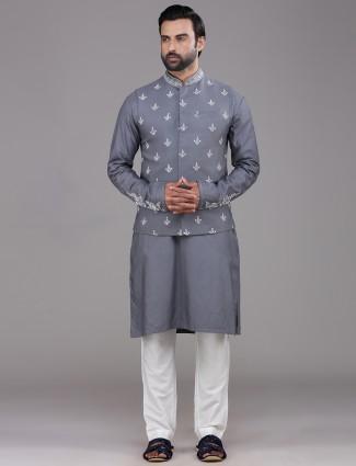Dark grey thread woven tussar silk waistcoat set