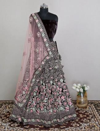 Dark maroon velvet wedding wear gorgeous wedding lehenga choli