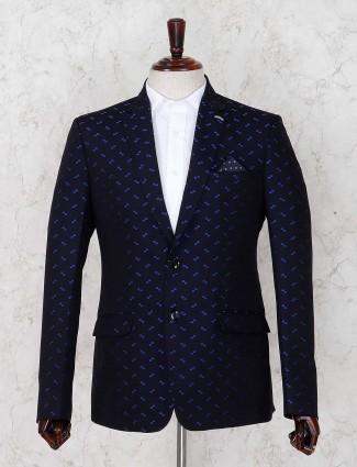 Dark navy hue terry rayon designer blazer