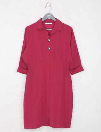 Dark pink casual top for women