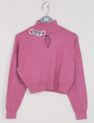 Dark pink knitted casual wear woma top