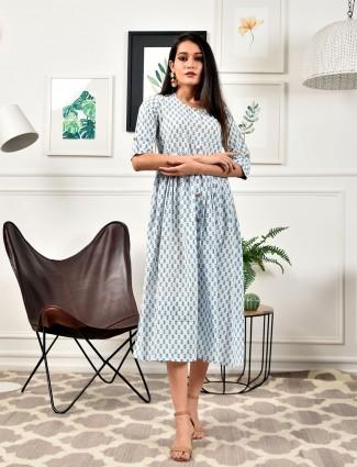 Dashing off white casual wear cotton kurti